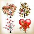 Collection of vector valentine trees decorated by roses flowers — 图库矢量图片
