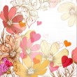 Cute valentine pastel floral vintage background — 图库矢量图片