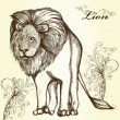 Elegant stylish background with hand drawn lion - ベクター素材ストック