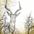 图库矢量图片: Vintage background with hand drawn antelope