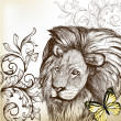 Stok Vektör: Vintage background with hand drawn lion