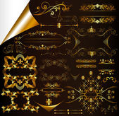 Calligraphic gold-framed design elements and page decorations — Stock Vector