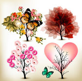 Collection of decorative valentine tree for design — Stock Vector
