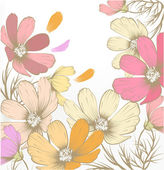 Mano dibujado fondo moda pastel con flores — Vector de stock
