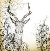 Vintage background with hand drawn antelope — Stock Vector