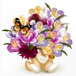 Beautiful realistic vector bouquet of flowers with eggs for east — Stok Vektör