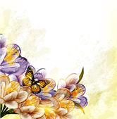 かわいいグランジ花の背景 — ストックベクタ