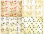 Floral seamless wallpaper set — Stock Vector