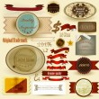 Collection of vintage labels and ribbons for design — Stock Vector