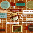 Collection of vintage labels and stikers on brick wall — Stock Vector #21011221
