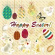 Easter greeting card in vintage style - 图库矢量图片