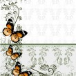 Floral background with wallpaper ornament and butterflies - Stock vektor