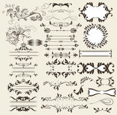 Calligraphic retro vector elements and page decorations — Stock Vector