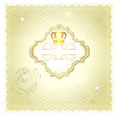 Luxury wedding invitation card for design in beige and white colors — Stock Vector