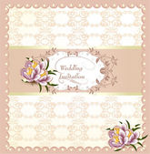Wedding invitation card in pastel purple colors — Stock Vector