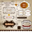 Collection of calligraphic retro design elements and labels - Stock Vector