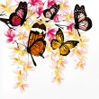 Vector de stock : Colorful vector background with realistic tropical butterflies a