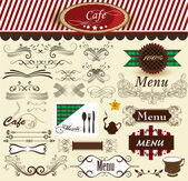 Calligraphic decorative retro elements for cafe and menu design — Stock Vector