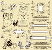 Calligraphic retro design elements and page decorations — Stock Vector