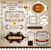 Collection of calligraphic retro design elements and labels — Stock Vector
