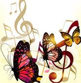 гранж музыка романтический фон с нотами и розы — Cтоковый вектор