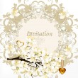 Vetorial Stock : Cute clear floral spring vector background with blossoming bran