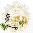 Cute clear floral spring vector background with blossoming  bran — Grafika wektorowa