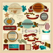 Collection of retro labels genuine, best and guaranteed quality — Stock Vector