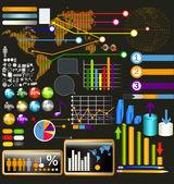 Collection du web et les éléments de l'infographie, les diagrammes, symboles une — Vecteur