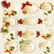 Collection of retro labels with flowers - Stock Vector