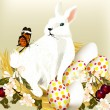 Royalty-Free Stock Vector Image: Cute Easter bunny sit in nest with eggs