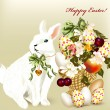 Cute Easter greeting card with white Easter bunny, eggs and flow — Векторная иллюстрация