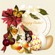 Easter greeting card with banner and flowers — Stock Vector