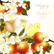 Easter greeting card with eggs, apples, spring flowers and chick — Stock Vector
