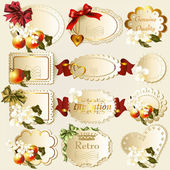 Collection of retro labels with flowers — Stock Vector