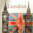 Vector de stock : Art vector conceptual background with London Big Ben and Englis
