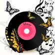 Abstract music background with vinyl record, notes and butterfli - Stock vektor