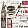 Calligraphic design elements and page decorations London theme - Stock Vector
