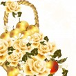 Beautiful floral background with realistic beige roses and apple - Vektorgrafik