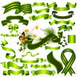 Collection of vector green ribbons and banners for design - Stock Vector