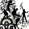 Conceptual music background with jumping silhouettes and notes - Stock Vector