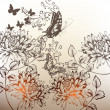 Floral hand drawn background with ornament, flowers and butterfl - Stock Vector
