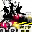 Grunge music banner for disco with ink spots, happy silh — Stockvector #22628341