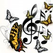 Music background with space for text and butterflies — Stok Vektör