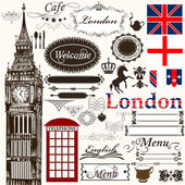 Calligraphic design elements and page decorations London theme — Stock Vector