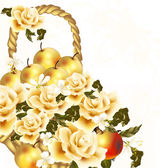 Beautiful floral background with realistic beige roses and apple — Stok Vektör