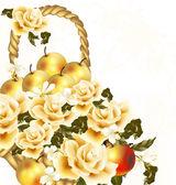 Hermoso fondo floral con rosas color beige realistas y manzana — Vector de stock