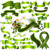 Collection of vector green ribbons and banners for design — Stock Vector