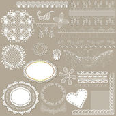 Collection of vector filigree white lace for design — Stock Vector