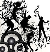 Conceptual music background with jumping silhouettes and notes — Stock Vector